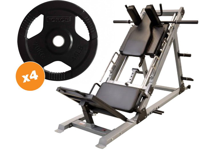 Force USA Ultimate 45 Degree Leg Press/Hack Squat & Rubber Coated Weight Plates Package