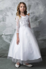 3D Flower Embroidery First Communion Dress with 3/4' Sleeves