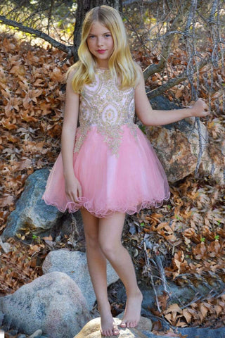 Beaded Knee length Red Tween Party Dress