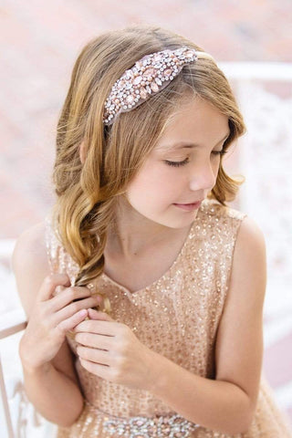 Beaded Satin Flower Girl Headband