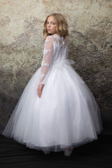 Embroidered top with long sleeves and Tulle skirt First Communion dress
