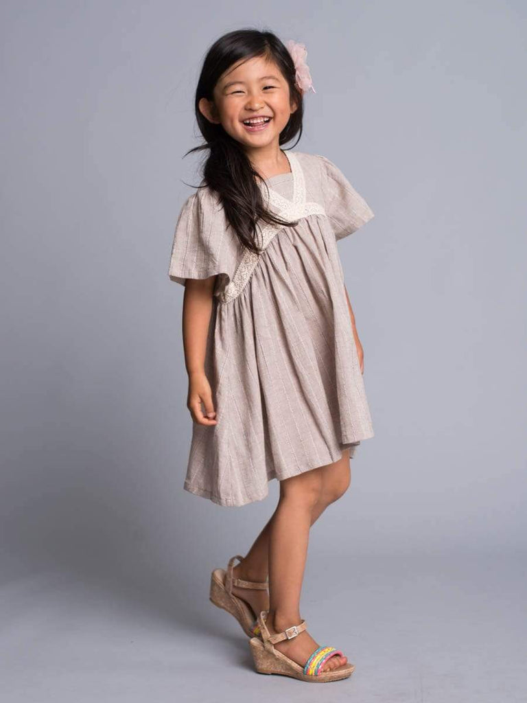 Beige Sweet Cotton Dress with Crochet