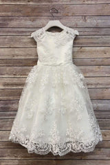 Blush Pink Solid Lace Flower Girl Dress