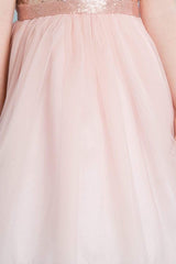 Champagne Sequin Top Dress With Tulle Skirt