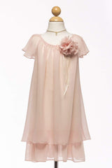 Chiffon Layered Dress with Pin-on Flower