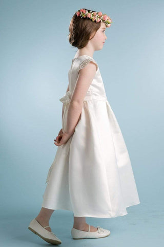 Elegant Pearl Bridal Satin Dress