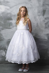 Embroidered First Communion Dress with Pearl Belt