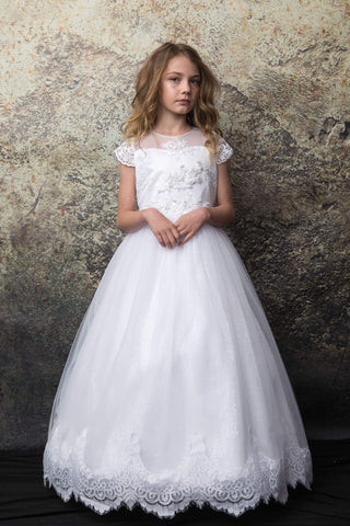 Embroidery Top Floor Length First Holy Communion Dress