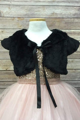 Faux Fur Shrug Bolero With Satin Ribbon