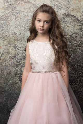 Floral print Jacquard top Blush Flower Girl Dress