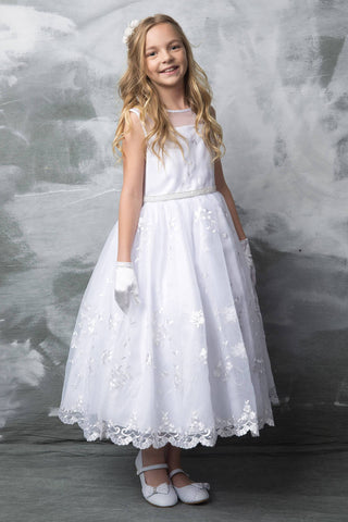 Flower Embroidered Organza  First Communion Dress