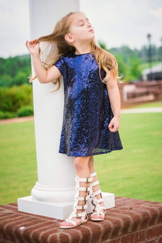 Glamorous Sequin Shift Dress Navy