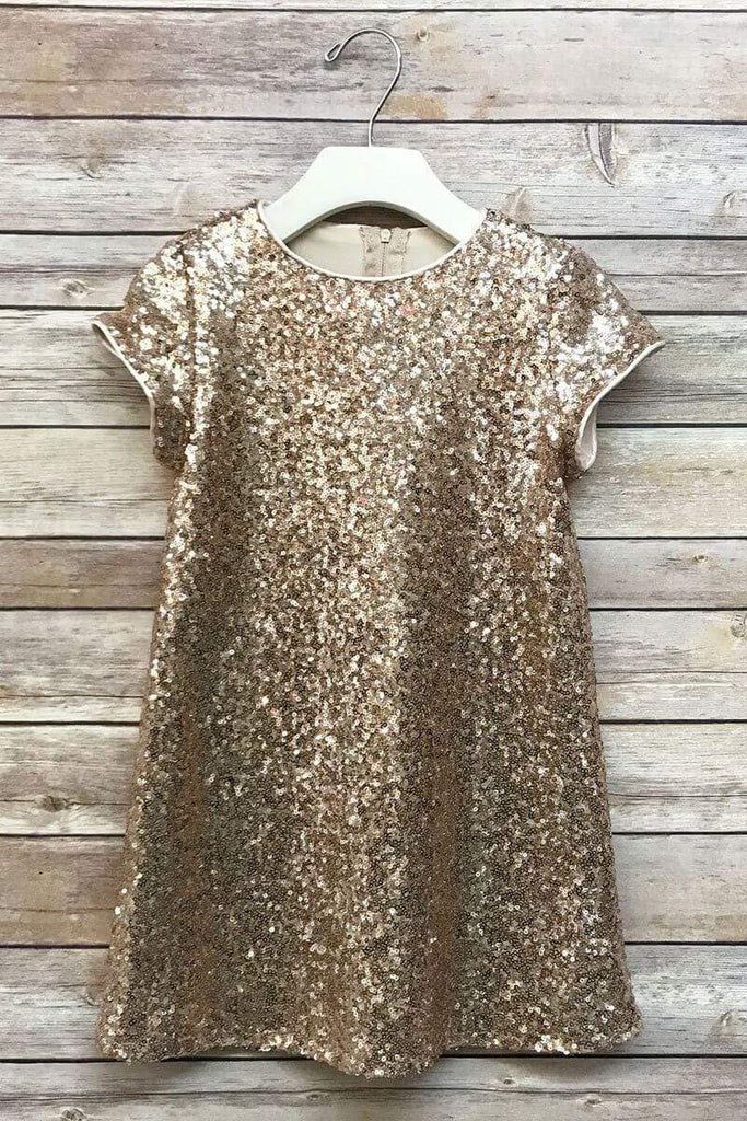 Glamorous Sequin Shift Dress Rose Gold