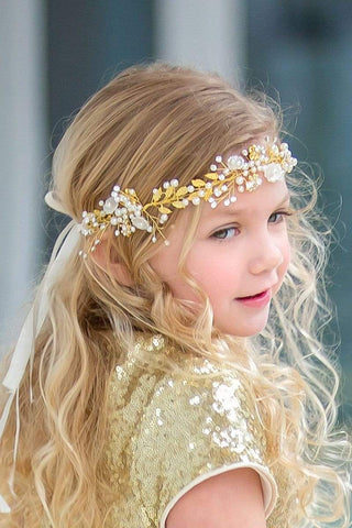 Golden Flower Girl Wreath