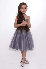 Grey Sequin Top Dress With Tulle Skirt