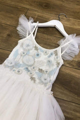 Ivory & Light Blue Tutu Dress