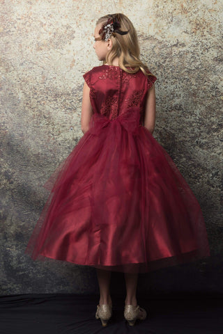 Luxurious Silk & Glittery Tulle Top Burgundy