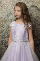 Luxurious Silk & Glittery Tulle Top Lilac