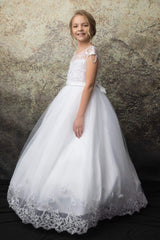 Pearl Shoulder Accent w/ Embroidery Top First Holy Communion Dress