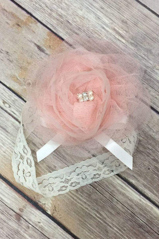 Mesh Flower Girl Headband with Lace
