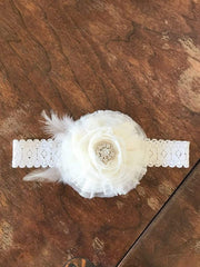 Mesh Flower Headband with Feather Detail