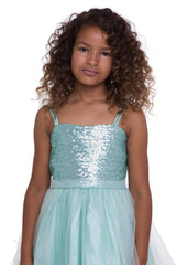 Mint Sequin Top Dress With Tulle Skirt