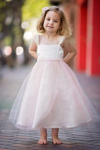 Pearl Sleeve Flower Girl Dress with Tulle Shimmery Skirt