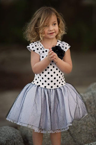 Polka Dot Dress with Lace and Tulle Skirt