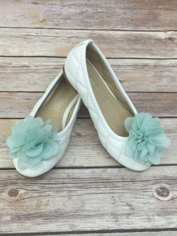 Quilted Flower Girl Shoes With Chiffon Flower