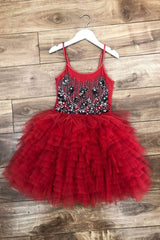 Red Tutu dress With Black Rosettes