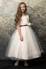 Satin and Tulle bouquet flower girl dress Lilac
