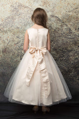 Satin and Tulle skirt Blush Flower Girl Dress with Rhinestone Belt