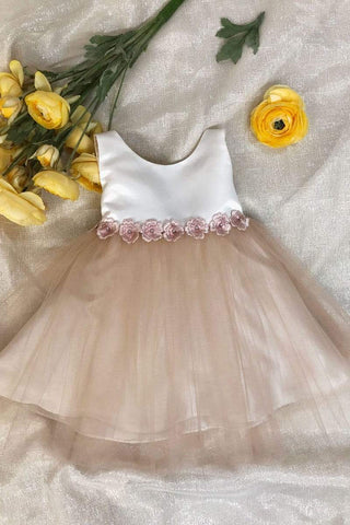 Satin and tulle two tone flower girl dress