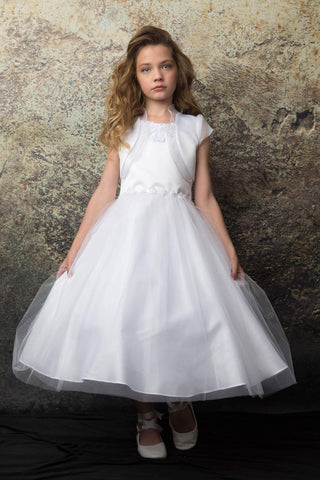 Beaded Neckline First Communion Dress with Bolero Set