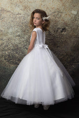 Satin dress with double tulle skirt