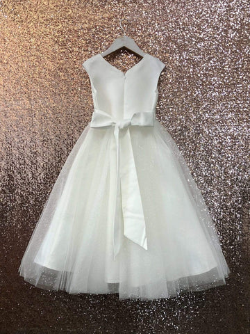 Satin dress with double tulle skirt Ivory