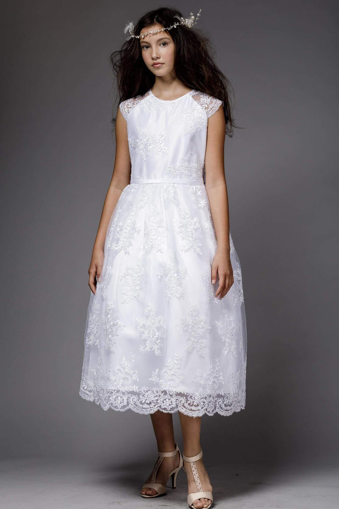 Satin Flower Girl Dress with Lace Overlay