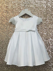 Satin Pearl Sleeve Dress