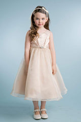 Satin Pleated Flower Girl Dress with Organza Skirt