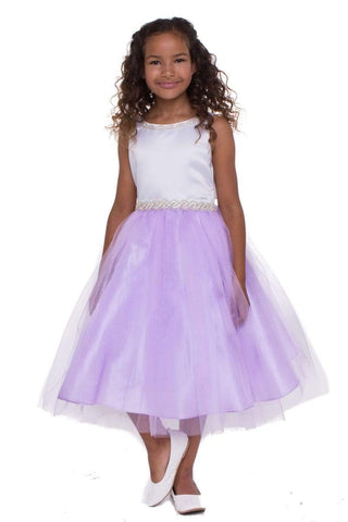 Satin Top Dress with Rhinestone Gem Belt & Tulle Skirt