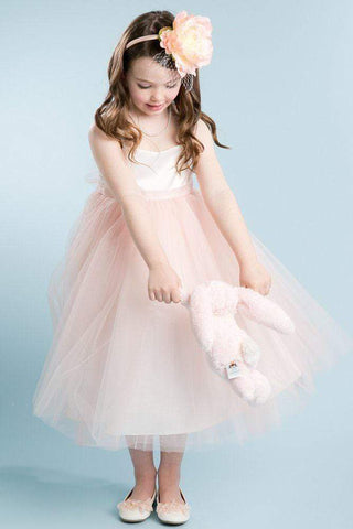 Satin & Tulle Flower Girl Dress with Shimmery Skirt