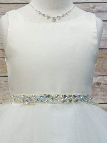 Satin With Tulle Overlay Flower Girl Dress & Rhinestone Belt
