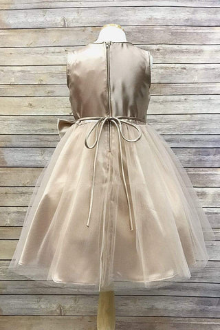 Sequin Dress with Tulle Skirt & charmeuse silk Bow