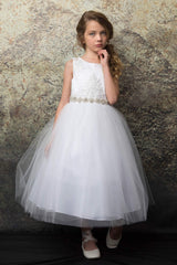 Sequin Lace Top and  Full Tulle Skirt Communion Dress
