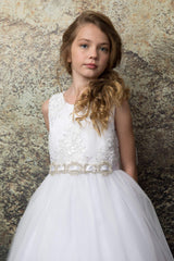 Sequin Lace Top with Rhinestone Belt Accented First Communion Dress