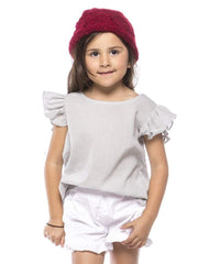 Soft Cotton Top With Ruffle Cap Sleeves