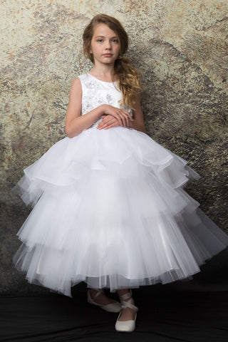 White Tutu style First Communion dress with 3D rosettes