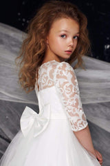 Hi-Low First Communion dress with Sequin top and sleeves