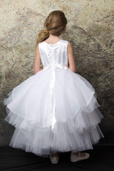 Tutu style flower girl dress with 3D rosettes