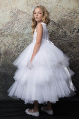 Tutu style First Holy Communion dress with 3D rosettes